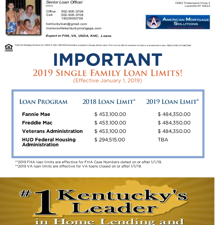 VA Loan Limits for all Kentucky Counties in 2019