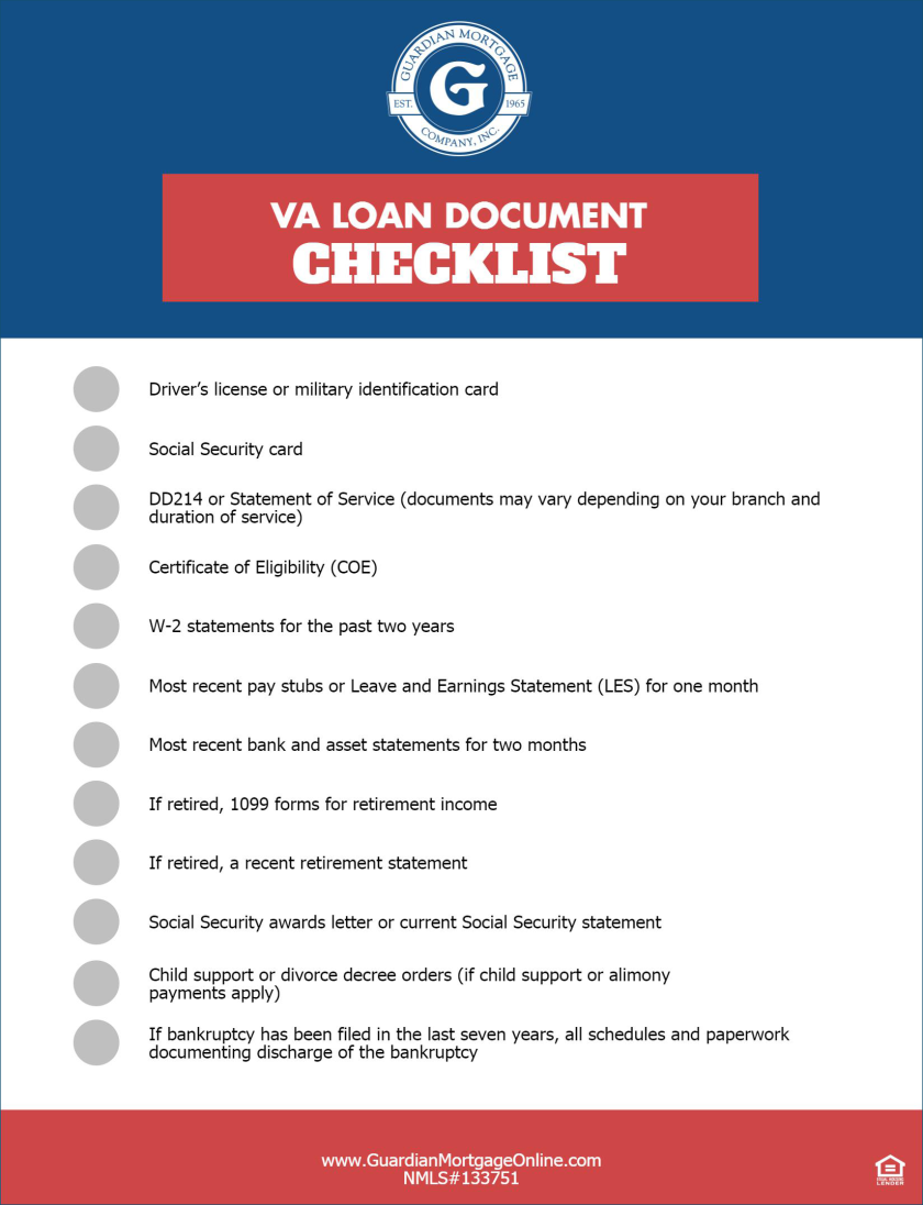 Kentucky VA Mortgage Loan Approval Checklist